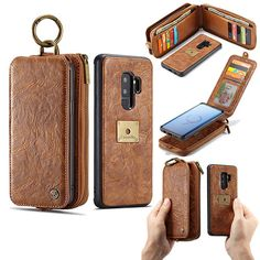 CaseMe Samsung Galaxy Plus Zipper Wallet Metal Buckle Detachable Case include 12 card slots + 2 cash pouches + 1 zipper wallet, it meets all your daily demand. Samsung Galaxy S9, Samsung Cases, Galaxy Phone, Leather Wallet, Pu Leather, Phone Holster, New Phones, Metal Buckles, Leather Craft