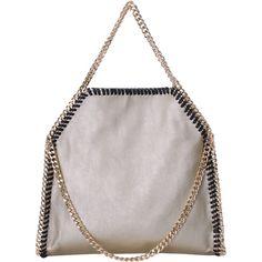 Gold Chain PU Shoulder Bag ($30) ❤ liked on Polyvore featuring bags, handbags, shoulder bags, chain purse, white handbags, chain shoulder bag, gold handbag and pu handbags