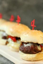 Planked beef sliders with peppers and caramelized onions - Plank Recipes   Kiss My Smoke