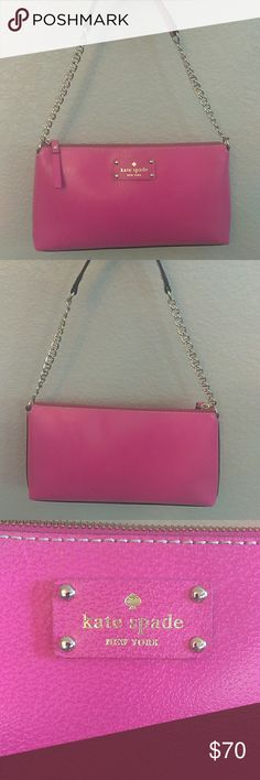 Kate Spade Fuschia shoulder/clutch Gorgeous Wellesley hot pink pebbled leather clutch or shoulder bag, perfect for summer, spring a night out on the town.  Flawless condition inside & out. Zip closure, interior zip pocket.  Gold hardware, spotted cream Kate Spade fabric. kate spade Bags Mini Bags