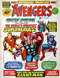 A vintage Avengers comic cover. It looks like Hulk hasn't even joined the team at this point.