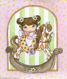 "Nursery art print, nursery decor, kids wall art "" The Rocking Horse "" 6 x 7 inch Print"