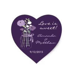 Purple Mason Jar Wedding Favor Stickers