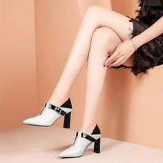 Chiko Evline Patent Mary-Jane Pumps Mules feature pointy toe, mary-jane straps, chunky heels with rubber sole. Shoes Boots Combat, Shoe Boots, Shoes Heels Pumps, Women's Shoes, Mary Jane Pumps, Toe Shape, Chunky Heels, Mary Janes, Sneakers Fashion