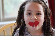 Homemade valentine lollipops - lips for girls, mustaches for boys :)