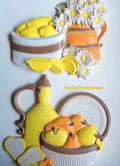 Vintage Syroco Pitcher and Fruit Pair of Wall by WylieOwlVintage, $14.00