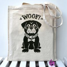 Cute pug dog design hand printed onto a super sturdy unbleached canvas bag. Each unbleached, super strong canvas bag is printed by hand on my kitchen table, using solvent free inks that are kind to the environment. Dog Tote Bag, Pug Puppies, Cute Pugs, Dog Quotes, Dog Design, Canvas Tote Bags, Funny Dogs, Hand Lettering, Dog Lovers