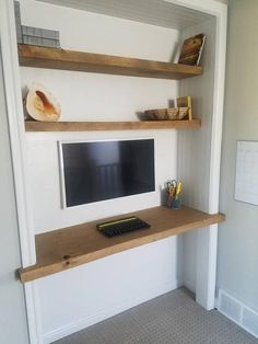 Create your own media center. 2 thick floating solid wood desk and shelves made Home Office Closet, Closet Desk, Basement Office, Guest Room Office, Home Office Space, Home Office Design, Home Office Decor, Home Decor, Office Ideas