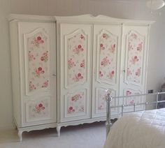 What a gorgeous Wardrobe painted in Autentico Milk with Cath Kidston Wallpaper panels.