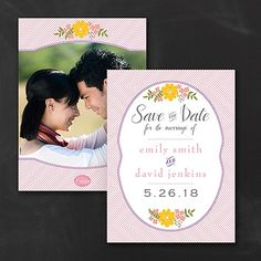 Pinstripe Blossoms - Photo - Save the Date - Wedding Ideas