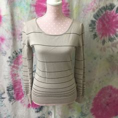 """Cream with stripe sweater top Beige with black stripe top hard to describe the color!  The button details are awesome! VGUC. dress form/mannequin details:bust 34"""" waist 26"""" length 23"""" Sweaters Crew & Scoop Necks"""