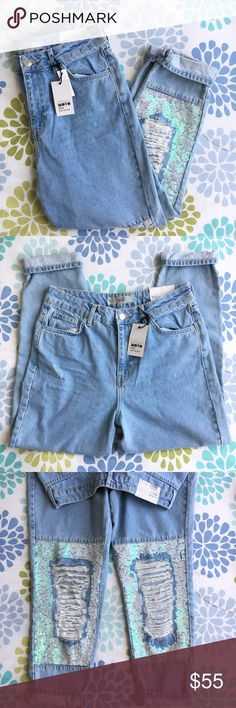 Topshop Mom Jeans Super cute light blue denim highwaisted mom Jeans from Topshop with ripped distressed knees and iridescent sequins Size 30 waist 30 length  Brand new with tags! Retails for $110 Topshop Jeans Boyfriend