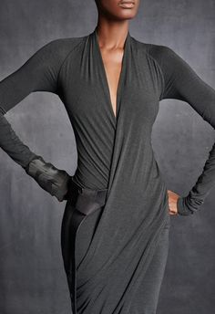 Long-Sleeve V-Neck Draped Dress – Urban Zen