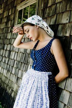 A summery sweet take on an Austrian dirndl outfit. #Austrian #summer #dirndl #dress #German #folk #costume
