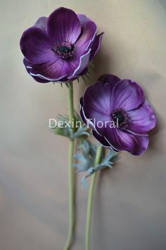 Natural Real Touch Dark Purple Artificial Silk Anemones Single Stem for Wedding Bridal Bouquets, Centerpieces, Decorative Flowers