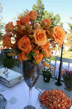 Fall orange reception wedding flowers,  wedding decor, wedding flower centerpiece, wedding flower arrangement, add pic source on comment and we will update it. www.myfloweraffair.com can create this beautiful wedding flower look.