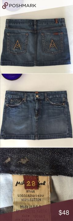 7 for All Mankind denim mini skirt - size 28 7 for All Mankind denim mini skirt - size 28/6. Like-new condition. Super flattering and a versatile classic. 7 For All Mankind Skirts