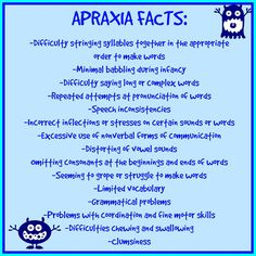 Apraxia Facts, Apraxia Awareness, Speech