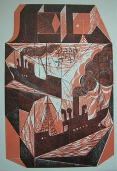 """""""Block Ships"""" by Charles Shearer (collograph)"""