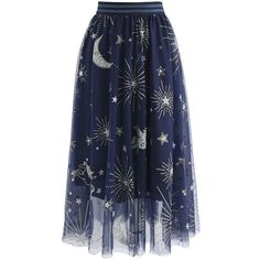 Chicwish Myth Of Stars Mesh Tulle Midi Skirt in Navy ($47) ❤ liked on Polyvore featuring skirts, bottoms, blue, mesh skirt, mid-calf skirts, midi skirt, blue skirt and navy knee length skirt