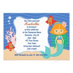 Red Hair Mermaid Pool Party Birthday Invitations