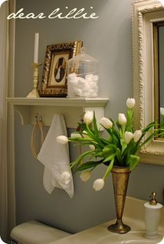 PAINT:  Dear Lillie had two rooms painted in Pebble Beach and they're gorgeous.   Use Cream color on shelving units.