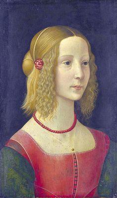 Domenico Ghirlandaio workshop - Portrait of a girl (about 1490). Looks very much like the portrait of Ginevra de' Benci by Leonardo da Vinci.