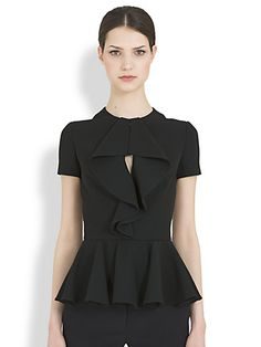 Alexander McQueen Ruffle-Drape peplum top - $1,085 Saks Fifth Ave. Which Would You Wear? #BestTrendsForever Put this top in your BattleShop closet. www.BattleShop.co