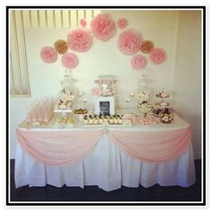 Pink gold christening baptism ella 39 s pink gold for Baby girl baptism decoration ideas