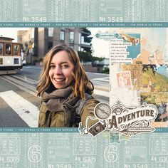 Travel Scrapbook Pages Simple Stories - Travel Travel Scrapbook Pages, Vintage Scrapbook, My Scrapbook, Scrapbook Sketches, Scrapbook Page Layouts, Scrapbooking Ideas, Old World Maps, Image Layout, Travel Icon