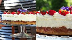 RAPARPERI-JUUSTOKAKKU - Kaakao kermavaahdolla Feta, Cheesecake, Desserts, Cheesecake Cake, Postres, Deserts, Cheesecakes, Dessert, Cheesecake Bars
