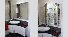 Meuble d'angle Bornéo, idéal pour une petite salle de bain avec une armoire à glace. Couleurs au choix, et dimensions personnalisées.