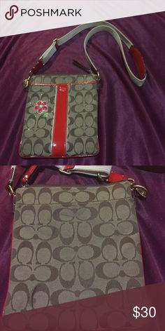 Authentic coach swing pack Used but still in good condition, have some minor stains but a little bit of soap and water will take it off. Straps are a bit dirty but u can wash it. Besides it being dirty a little there's no tears! Coach Bags Crossbody Bags