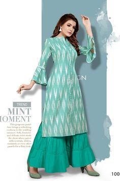 Classy Printed Rayon Kurta With Bell Sleeve & Sharara from Stf Store Short Kurti Designs, Printed Kurti Designs, Simple Kurti Designs, Kurta Designs Women, Dress Neck Designs, Blouse Designs, Ikkat Dresses, Digital Print, Embroidery Suits Design