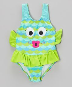 This Blue & Green Fishy Skirted One-Piece - Infant, Toddler & Girls is perfect! #zulilyfinds