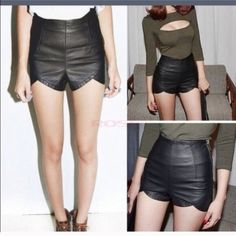 BLACK LEATHER SHORTS Worn once in Halloween as shown in picture above. Shorts