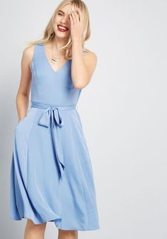 As trends and fads roll on by, your appreciation for this powder blue dress remains as steadfast as ever. From our ModCloth namesake label, this hammered. Vintage Style Dresses, 50s Dresses, Dresses For Sale, Blue Dresses, Casual Dresses, Fashion Dresses, Event Dresses, Women's Fashion, Formal Dresses