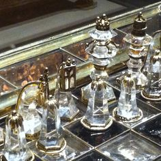 A precious rock crystal chess set, the Louvre.