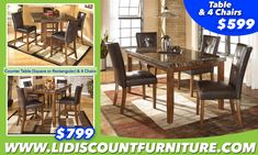 TABLE + 4 CHAIRS $599 or COUNTER HEIGHT TABLE (Square or Rectagular) + 4 CHAIRS ONLY $799 #longislanddiscountfurniture #furniture #diningtable #diningroom #discount #countertable www.longislanddiscountfurniture.com