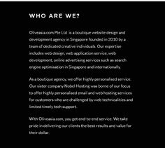 Web Application Development and Website Design Singapore | Web Server Hosting Services | Search Engine Optimization Singapore – Oliveasia.com Oliveasia.com (OA) is the leading website #application development and #design agency in Singapore, #offering creative web solutions, #Email and Web hosting, #SEM services and more!