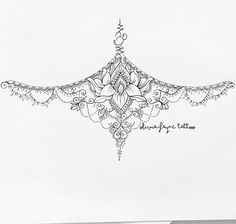 Dessin, tatouage, sternum, poitrine, lotus, encre noire