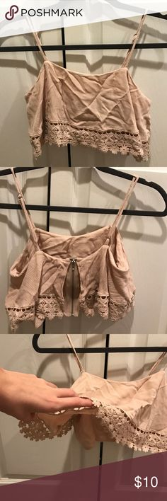 Light brown flowy crop top flowy shirt, very cute. Great for festivals like Coachella! Good condition, size small Forever 21 Tops Crop Tops