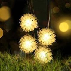 Solar Powered Warm White Dandelion LED String Lights