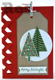 Merry & Bright Christmas card with braided edge #festivaloftrees #goodgreetings #stampinup #christmascard