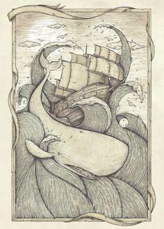 The Battle Art Print by mikekoubou Moby Dick, Woodcut Tattoo, Whale Drawing, Whale Illustration, Whale Tattoos, Wale, Grafik Design, Art Inspo, Tattoo Ideas