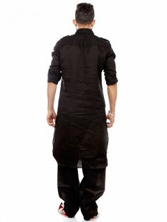 Shop Black linen festive wear solid Pathani Suit online from G3fashion India. Brand - G3, Product code - G3-MPS0316, Price - 3495, Color - Black, Fabric - Linen,