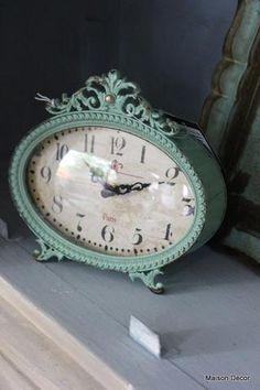 Victorian Aqua Desk Clock Metal Turquoise Blue Scrolling Home Decor Retro New 0
