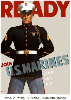 WWII U.S. Marines recruiting poster. Printed by Alpha Litho. Co. of Camden, N.J., 1942