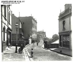 Gloucester Street looking north from Argyle Cut by State Records NSW The Rocks Sydney, Gloucester Street, Old Photos, Vintage Photos, As Time Goes By, Historical Images, Historical Architecture, Sydney Australia, Ancestry