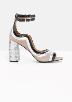 & Other Stories image 1 of Glitter Heel Strap Sandalette in Beige